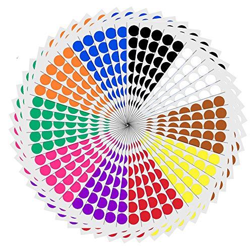 2cm Runde Punktaufkleber Farbkodierung Etiketten Markierungspunkte - 10 Farben, 2000 Stück