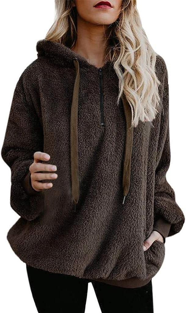 VISLINDU Zipper Hoodies for Women Fuzzy Fleece Sweater Solid Sherpa Jackets Fashion Sweatshirts Casual Outwear Coat