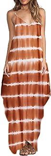 ZANZEA Vestito Lungo Maxi Donna Estivo Scollo V Senza Maniche Vestito Spiaggia Floreale Stampa Abito Cocktail Eleganti Ves...