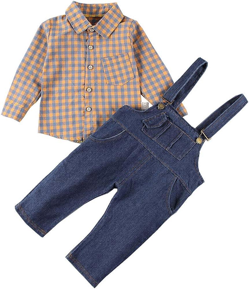 Kids Toddler Baby Boys Girls Bibs Dark Blue Denim Overalls with Check Shirt Clothing Set