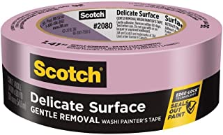 3M Scotch-Blue 2080 Safe-Release Delicate Surfaces Painters Masking Tape , 19 lbs/in Tensile Strength, 60 yds Length x 1