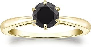 Diamond Wish 14k Gold Round Black Diamond Solitaire Ring (3/4cttw) 6-Prong, Size 4-9