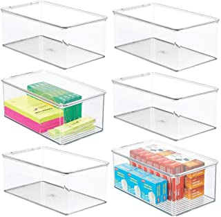 $65 » mDesign Plastic Stackable Home Office Storage Organizer Bin Box, Deep Container with Lid - Holds Note Pads, Gel Pens, Pencils, Markers, Tape, Supplies on Desk/Shelves, 6 Pack - Clear