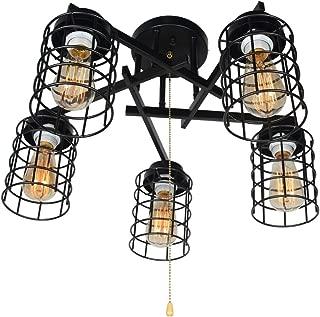 Baiwaiz Industrial Semi Flush Mount Ceiling Light with Pull Chain, Black Metal Wire Cage Close to Ceiling Light Fixture Pull String Light 5 Lights Edison E26 084