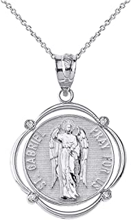 925 Sterling Silver St. Gabriel The Archangel CZ Round Frame Pendant Necklace