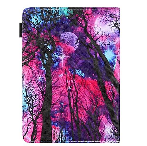 Funda universal para tablet de 10 pulgadas, con soporte universal para Tab de 10', diseño de árbol de luna, color negro, rosa y morado