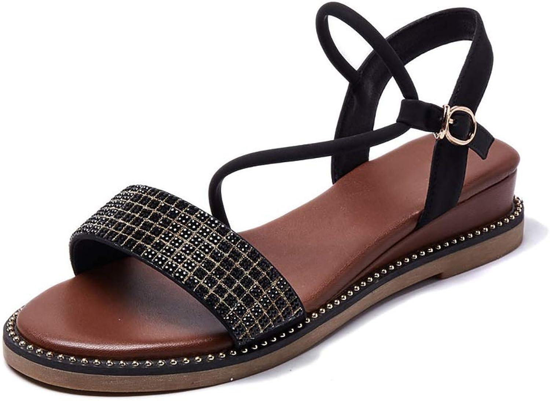Women's Sandals Rivet Plaid Roman Flats, Brown (color   Brown, Size   5.5 US)