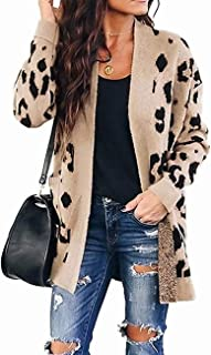 Women's Long Sleeves Open Front Leopard Print Button Down...