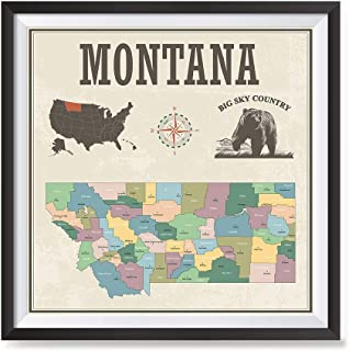 EzPosterPrints - USA State Map with State Icons Posters Series - Poster Printing - Wall Art Print for Home Office Décor - Montana - 16X16 inches
