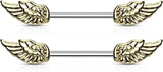 Fifth Cue 14G Angel Wings 316L Surgical Steel Nipple Barbell Ring