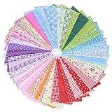 PTCOME 42 Pz Conjunto de Tela de Algodón Estampadas Telas Patchwork Floral Telas para Manualidades Infantiles Telas de Algodón para Decoración de Costura Artesanal Telas Patchwork DIY (25x25cm)