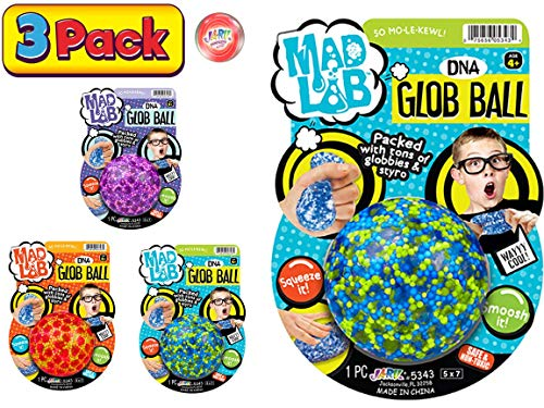 JA-RU Stress Ball Jelly Mini Beads Squishy Balls DNA (Pack of 3 Assorted) Stress Relief Toy for Kids and Adults. Great for Anxiety and Autism. Party Favor Supply. Plus 1 Bouncy Ball | #5342-3p