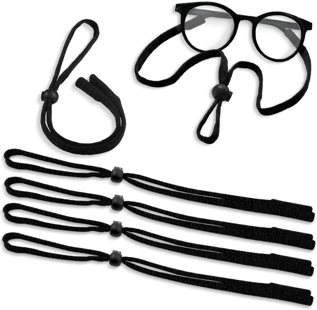Kalevel 6pcs Adjustable Eyeglass Holder Strap Sunglass Strings Lanyards Sports Glasses Cord for Men Women Kids (Black Set)