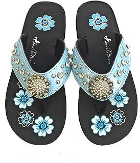 Montana West Flip Flops Sandal Shiny Straps Crystals Floral Concho Blue