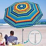 AMMSUN 7ft Beach Umbrella with Sand Anchor Portable Outdoor Patio Sun Shelter UV 50+ Protection & Tilt Aluminum Pole with Carry Bag for Beach Patio Garden Outdoor Multicolor Green
