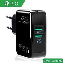 LIOPIO Adattatore di Ricarica QC 3.0 per Telefono Cellulare con Caricatore per Auto USB a 3 Porte Caricabatterie da Muro