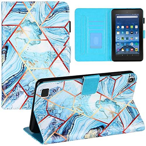 Funda para tablet Amazon Fire (7'') (2017), mármol Smart Folio Cover Auto Sleep Magnetic a prueba de golpes Flip Funda protectora de cuero con soporte y ranura para tarjetas, azul blanco