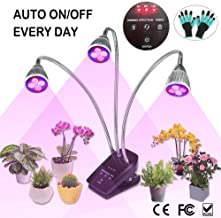 LED Grow Light, Full Spectrum Plant Light for Indoor Plants, 3/6/12 Hours Auto ON/Off Timer, 3 Heads Desk Grow Lamp Clip On, 10 Dimmable Growing Bulbs for House Gardening Seed, Seedling, Herbs, Orchid