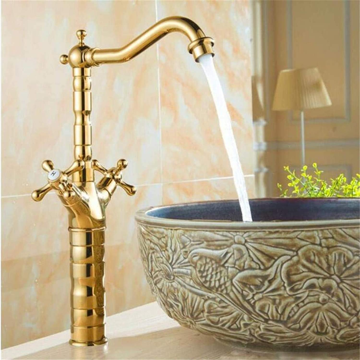 Retro Hot and Cold Water Brass Kitchen Faucet Hot and Cold, Antique Copper Mixer Water Tap, Retro Kitchen Sink Basin Faucet