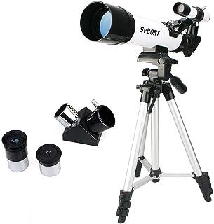 """SVBONY SV25 天体望遠鏡 初心者 子供天体望遠鏡 60mm大口径 1.25""""接眼レンズ 屈折式 90°天頂鏡 三脚付き"""