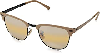 RAY-BAN RB3716 Clubmaster Metal Square Sunglasses, Black & Matte Beige/Yellow Gradient Mirror, 51 mm