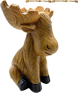 Pskgsbn Sitting Moose Antlers Birdbath, Outdoor Bird Bath Bowl Resin Statue, Garden in Hand-Painted Wood-Look Carved, Handmade Carved Elk Sculpture Outdoor Decor Landscape (A)