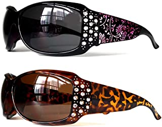 Get 2 Pairs- Full Rhinestone Transparent Oversized Designer Fashion Bifocal Sunglasses Readers Reading Glasses for Women (Strength +1.5 2.0 2.5 3.0)