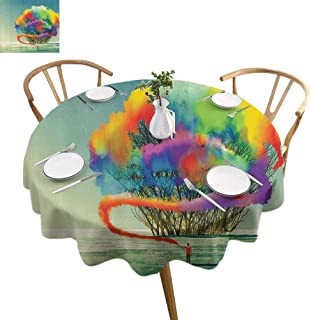 UETECH Fabric Round Tablecloth Fantasy Art House Decor Psychedelic Man Draws Abstract Tree with Colored Smoke Flare Be Creative Multi Wedding Patio Dining Dorm D60