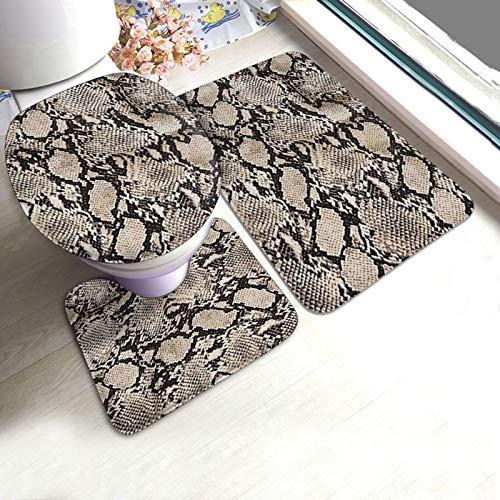 Antiskid Pad Mats Set 3 Piece Snake Print Camouflage Animal Print Bathroom Mat Pedestal Rug+U Shaped Contour Mat+Lid Toilet Cover Pad