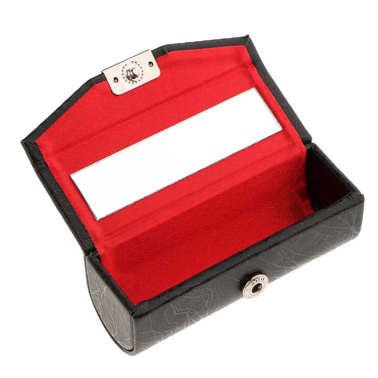 に同意するリアルペチコートBlesiya リップスティックケース ミラー付き レザー リップスティック リップグロスケース 収納ボックス メイクホルダー 多色選べる - ブラック