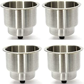 4PCS Boat Cup Drink Holder Brushed Stainless Steel Cup Bottle Rack Recessed with Drain for Boats RV & Campers