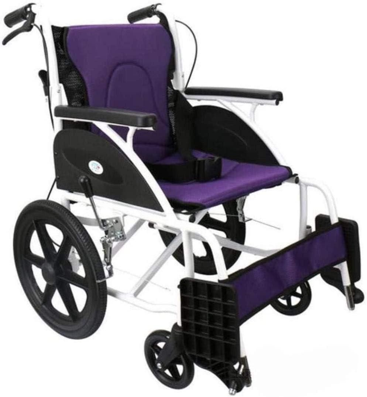 JYHZ Silla de ruedas manual de aleación de aluminio, para hombre viejo, rueda pequeña, ligera, plegable, silla de ruedas manual, para discapacitados, morado, color: morado (color: púrpura)