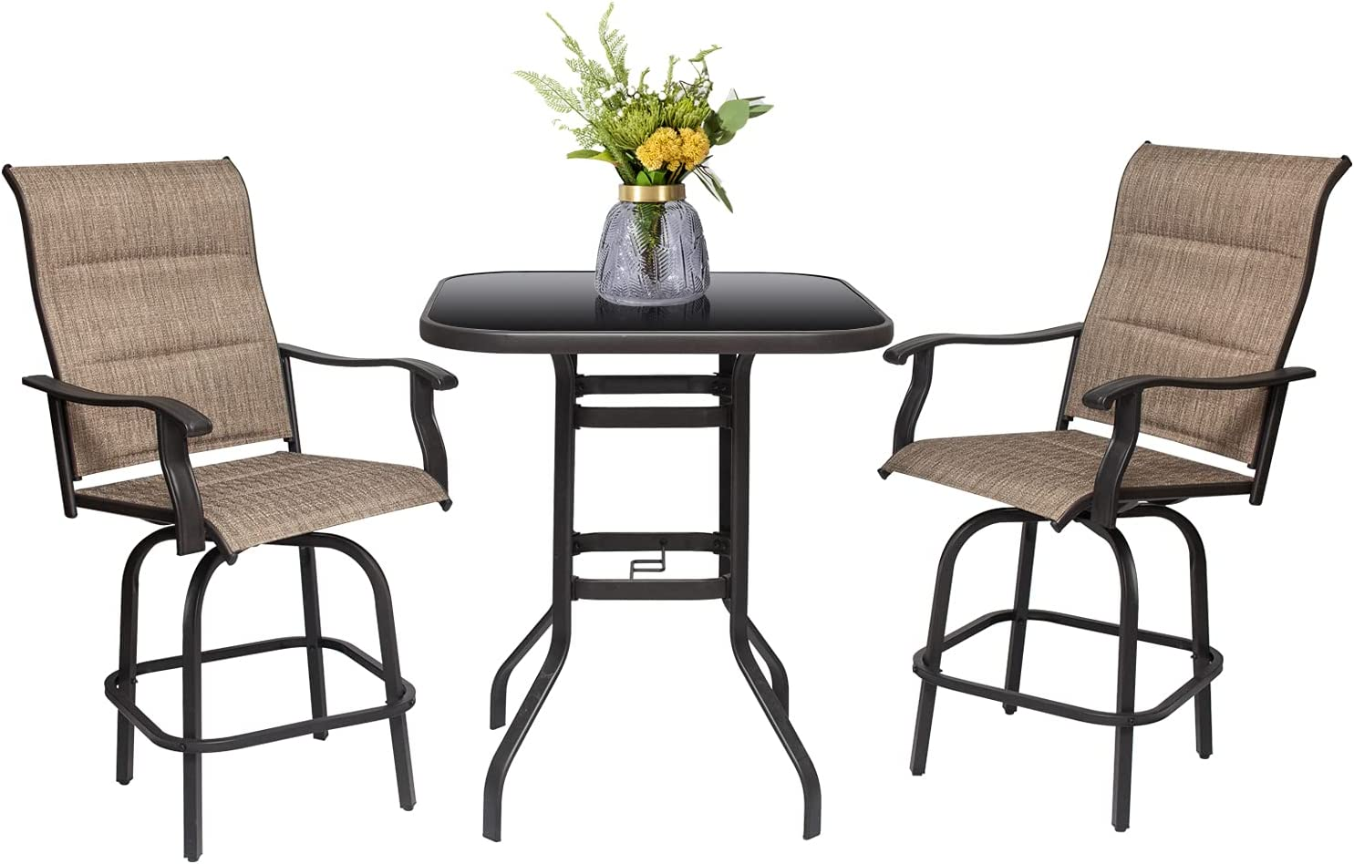 3PCS Outdoor Furniture Patio Height Bar Large-scale Bargain sale Bistro All-Wea Set Stool