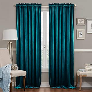 Extra Long Curtains 108 inch - High Ceiling Large Window Decor Half Light Noise Barrier Privacy Curtains for Bedroom Living Room Office Inside Patio Door, Peacock Blue, 52 Wide x 108 Long, 2 Pcs