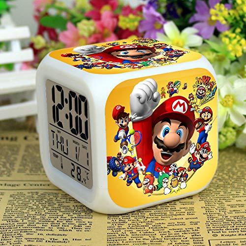 FENGHE Super Mario Uhr Super Mario Multifunktionswecker Lautlos Smart Bedside Luminous Cartoon Kreativ Einfach Student Special für Kinder