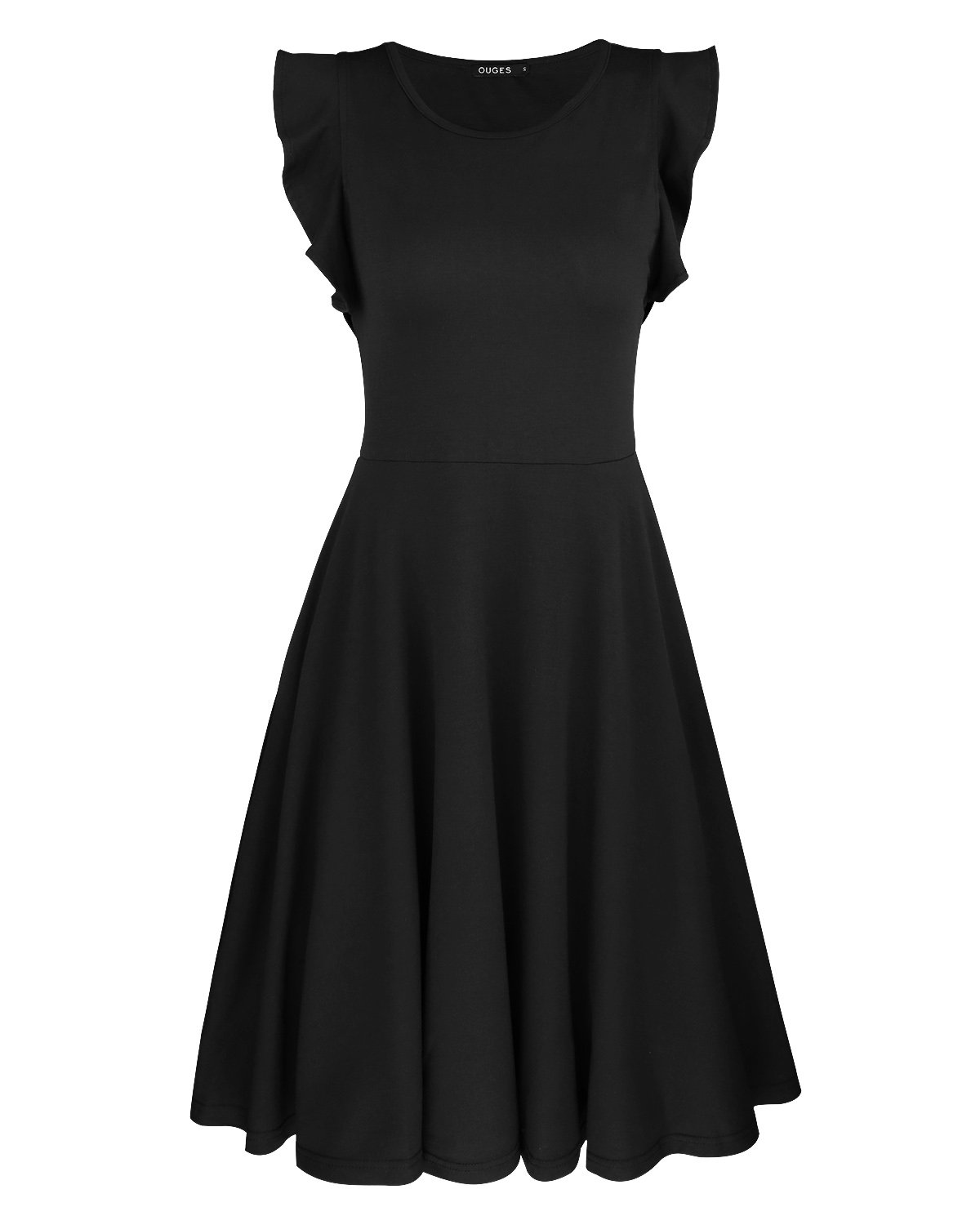 Available at Amazon: OUGES Women's Ruffles Cap Sleeve Casual Cotton Flare Dress