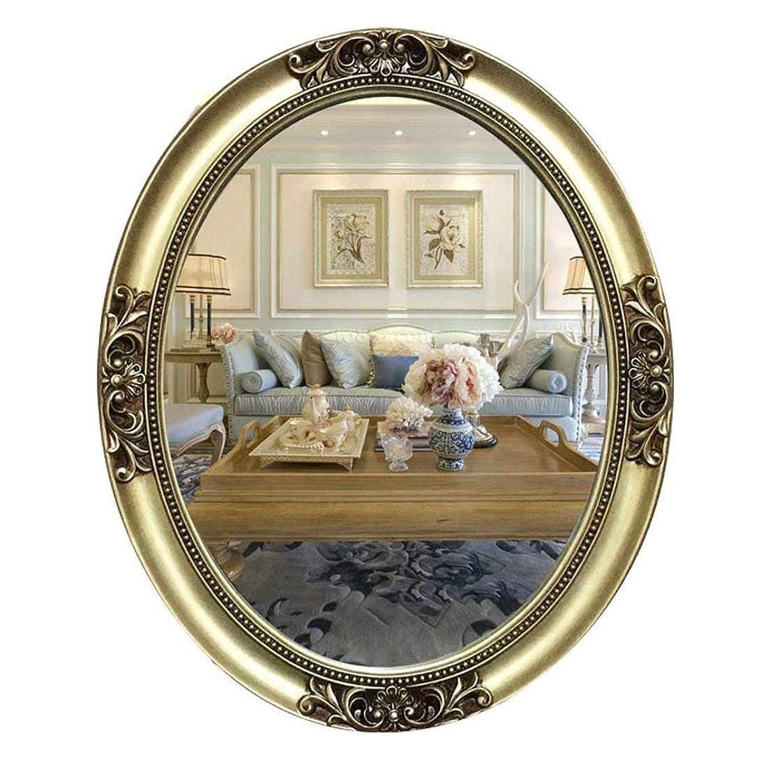 ミキサーステレオあらゆる種類のミラー壁掛け式ミラーヨーロッパ彫刻楕円形の樹脂ガラスバスルームミラーバスルームミラー壁掛け式洗面器ミラー61X75cm A +(色:A)