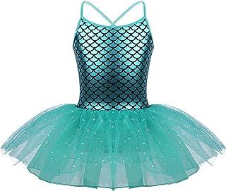 TiaoBug Kids Baby Girls Mermaid Princess Costume Fish Scale Camisole Sequins Tutu Skirts Ballet Dance Gymnastics Leotard