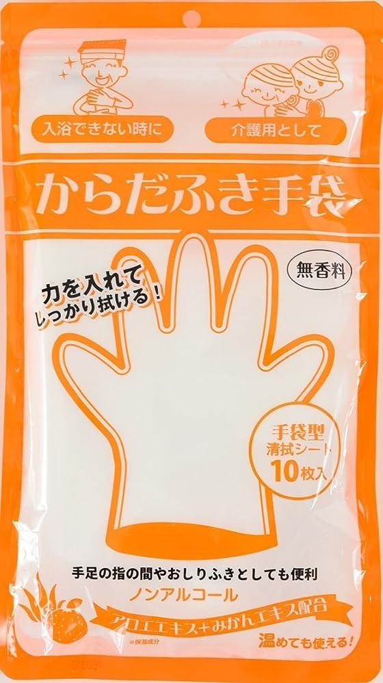 警告する日帰り旅行に機械的にからだふき手袋 無香料 10枚