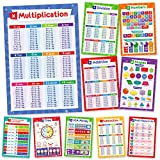 11 Educational Math Posters - Multiplication Chart Times Table, Place Value Chart, Money, Shapes, Fractions,...
