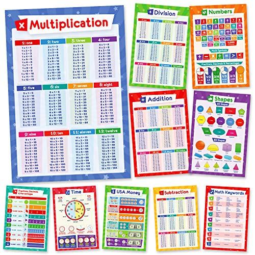 11 Educational Math Posters - Multiplication Chart Times Table, Place Value Chart, Money, Shapes, Fractions, Division, Addition, Subtraction, Numbers, Homeschool Supplies, Classroom Decorations, 13x19