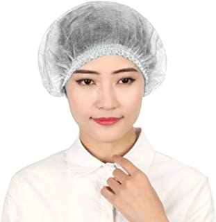 HACER HCHC25 Disposable 18 Inch Head Cover 8 GSM Elastic Bouffant Cap Non-Woven Hair Covering Net for Medical Hospital Lab & Restaurants (25 Pcs)