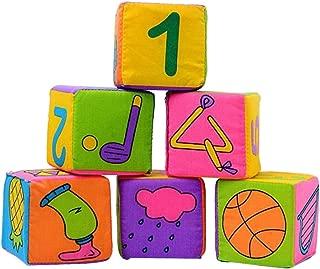 NUOLUX 6pcs Baby Cloth Soft Rattle Building Blocks Educational Cube Cloth Toys Set