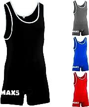 Max5 Men's Wrestling Singlet Bodywear Uniform Fight Gear Elasticated Legs