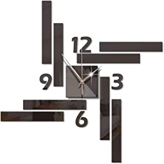 DIY Wall Clock, 3D Mirror Stickers Large Wall Clock, Frameless Modern Design Silent Number Clock Decoration, for Living Ro...