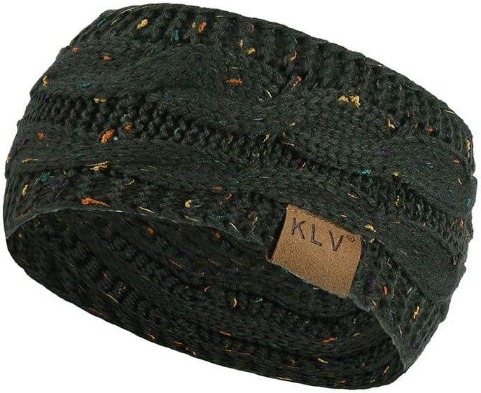 Glumes Womens Knit Confetti Cable Headband Crochet Twist Head Wrap Ear Warmer (Dark gray)