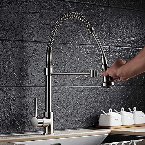 Grifo De Cocina Pull Cepillado Níquel De Latón Spring Graucet Faucet Dos Caños Pulldown Deck Mounted Mezclador