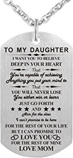 Dad Mom to My Son Daughter I Want You to Believe Stainless Steel Dog Tag Military Air Force Pendant Necklace for Birthday Graduation