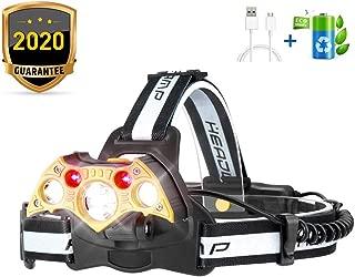 MOER SKY Headlamp Flashlight, LED Headlight 5 Modes, Work Headlight Waterproof, Head Torch Lighting Range up to 500M, Brightest 10000 Lumen Headlight Flashlight for Camping Running Fishing Hiking