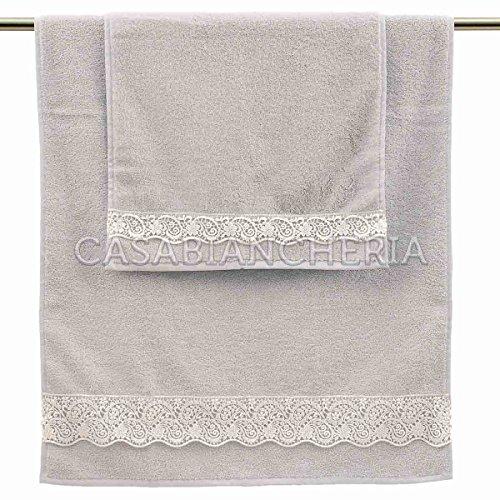Paire serviettes Gabel Beatrice avec pizzo-grigio